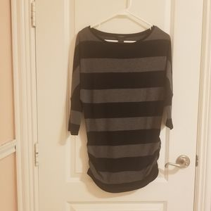 Ann Taylor Black & Gray Striped Tunic Top